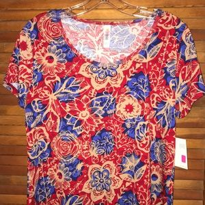 LuLaRoe S Floral and Butterfly Print Classic Top